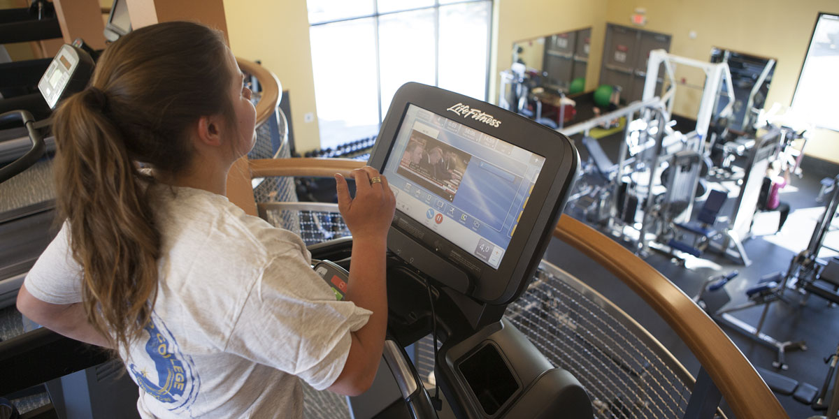 Student on treadmill at the PWSC Health & Fitness Center in Valdez, Alaska