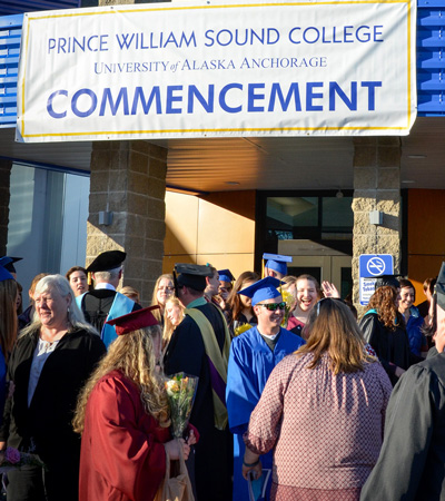 Crowd infront of PWSC during 2017 in commencement