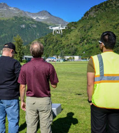 PWSC students fly a drone on campus
