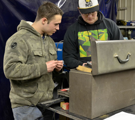 Photo of students in the PWSC Millwright Shop in Valdez, Alaska