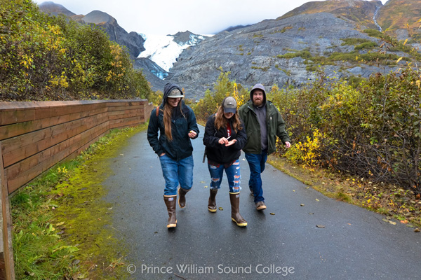 Prince William Sound College (PWSC) students at the Worthington Glacier