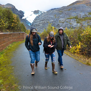 Prince William Sound College (PWSC) students at the Worthington Glacier at Thompson Pass, Alaska
