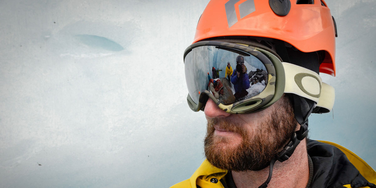Reflection of students in the Crevasse Rescue course at Thompson Pass, Alaska