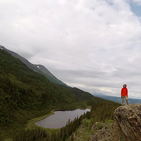 PWSC student Joe Kay on a hike in Alaska