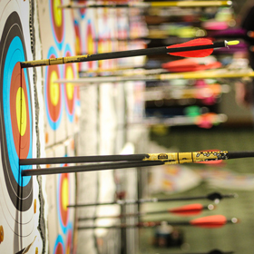 Arrows in a target at the Vegas in Valdez Archery Tournament