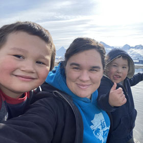 Megan Gunderson and sons and the beach in Valdez, Alaska