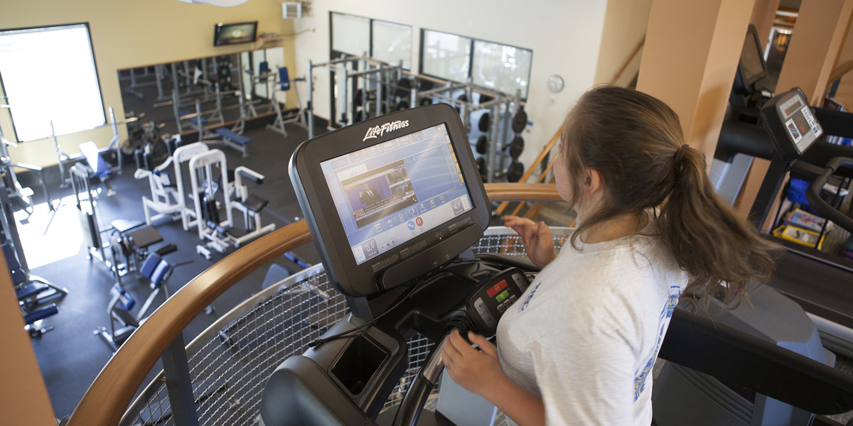 Student running on the treadmill at the PWSC Health and Fitness Center in Valdez, Alaska